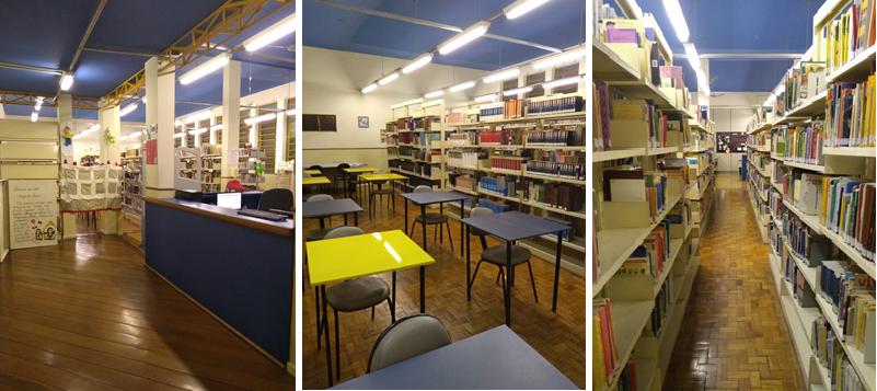 Imagens do balcão de empréstimo, das mesas de estudo e das estantes de livros da biblioteca do colégio João XXIII.