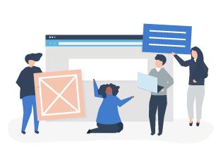 ilustração de pessoas montando um site
