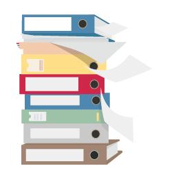 ilustração de livros e fichas empilhados