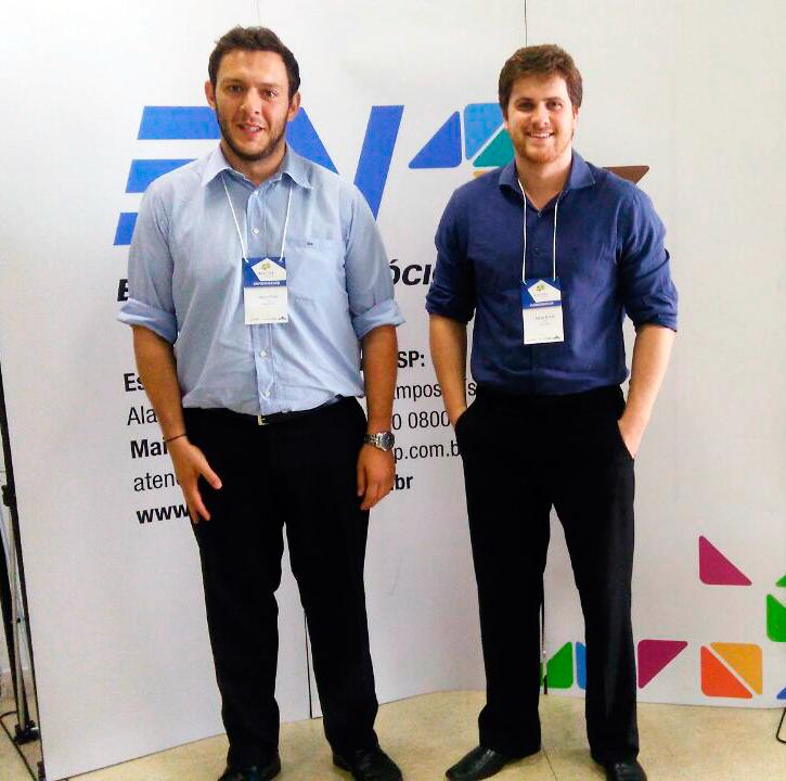 Classificados na final do processo, Nuno e Felipe participaram de Demoday em São Paulo. Foto: Divulgação/Arquivo Pessoal