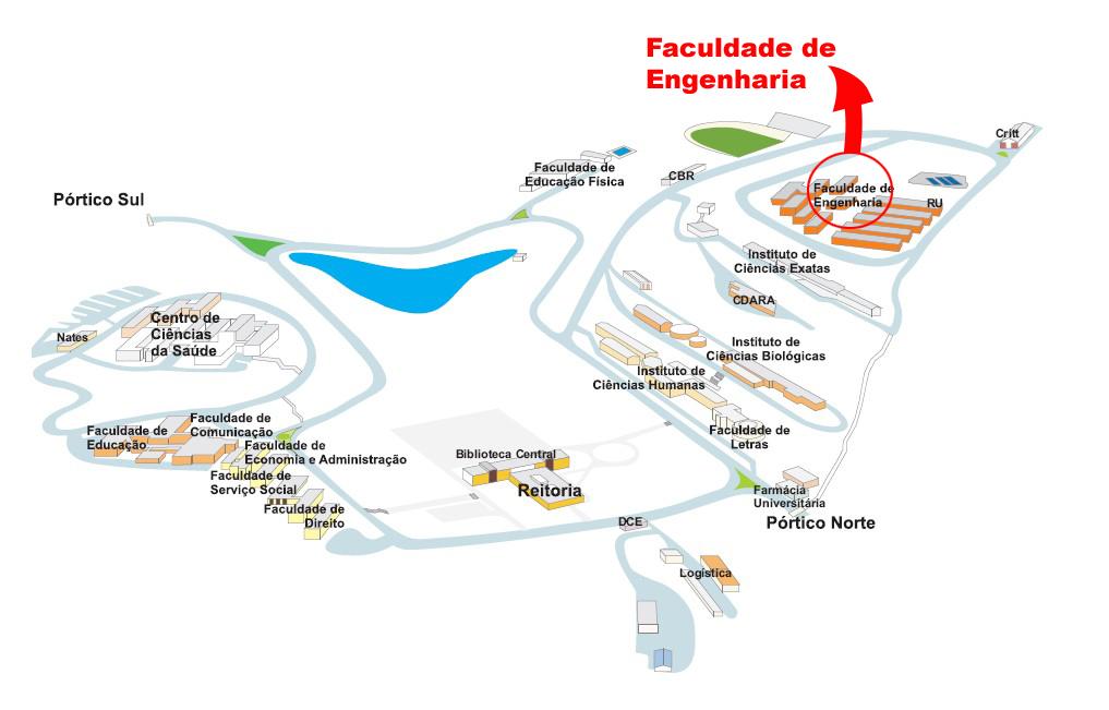 Detalhe da localização da Faculdade de Engenharia no Campus da UFJF