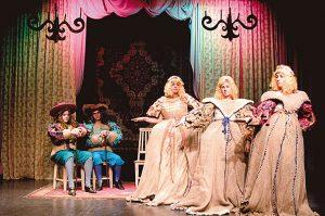 """Foto do espetáculo """"As preciosas ridículas"""", de Molière, apresentado pelo Núcleo Adolescente, em 2008."""