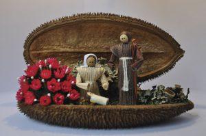 Foto do Presépio em semente e palha de milho, de autoria de Doralice Horn, originário do Rio Negro (PR)