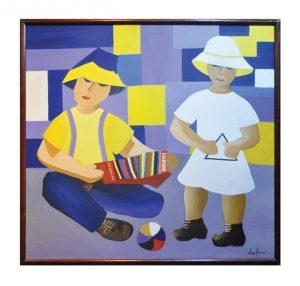 """A obra """"As crianças"""", de Lúcia Massari é um dos trabalhos expostos no Forum da Cultura."""