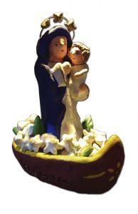 Nossa Senhora dos Navegantes em cerâmica pintada - Autoria: Eugênia - Guaratinguetá/SP