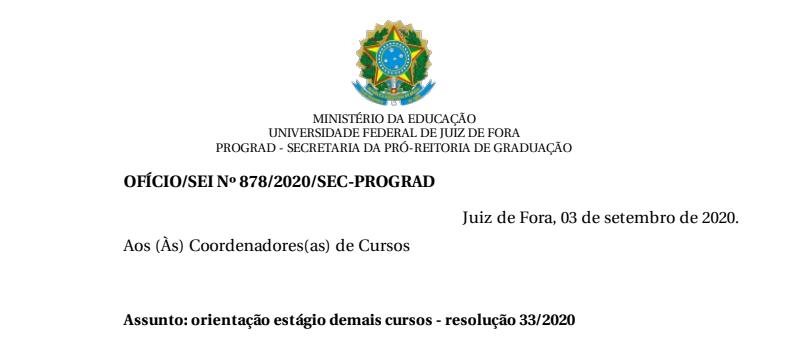 Orientação de estágio demais cursos – Resolução 33/2020