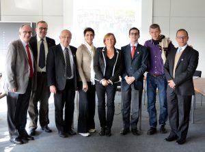 Em 2013, a SRI visitou, com uma comitiva brasileira, o campus da UAMR, na Alemanha. Na foto, da esquerda para direita: Nilo Oliveira (UFMG), Luiz S. Martins Filho (UFABC), Carlos Siqueira (UFPR), Rossana Melo (UFJF), Ira Terwyen (University Duisburg-Essen), Vitor Amaral (UFRJ), Stephan Hollensteiner (UAMR) e Carlos Vergani (UNESP) (Foto: Divulgação)