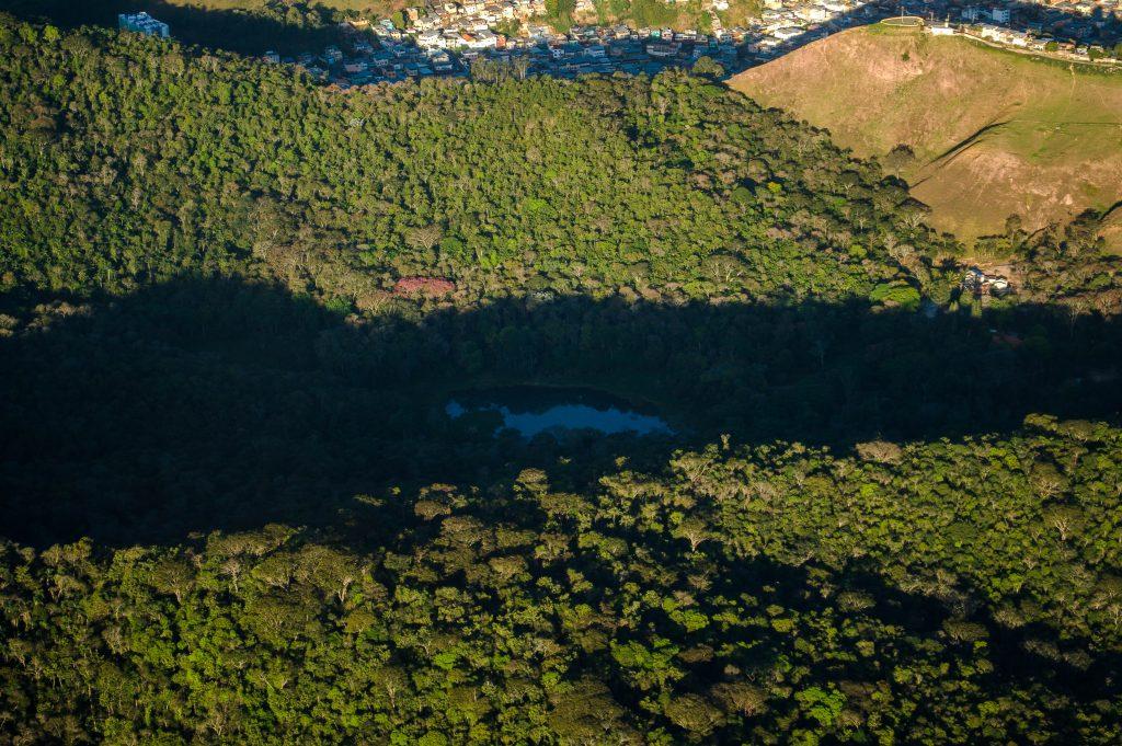 Vista aérea da Mata do Krambeck com o Jardim Botânico (Foto: Thiago Andrade/UFJF, 2016)