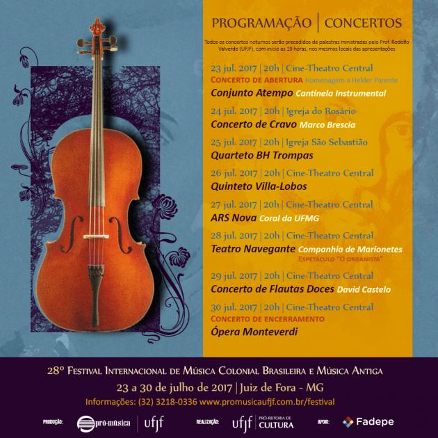 Programação do Festival de Música Colonial