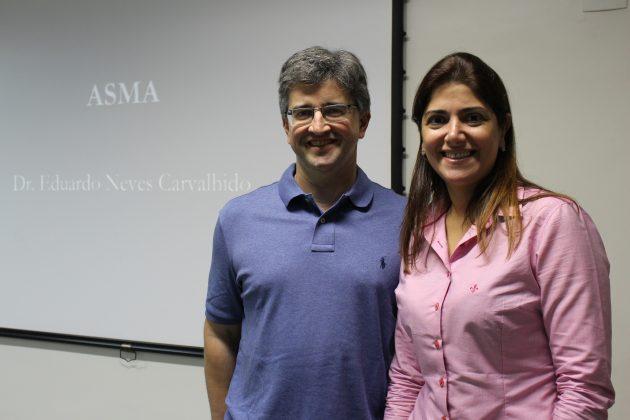 Dr. Eduardo Neves Carvalhido, um dos palestrantes convidados, e a professora Carina Ruiz (Foto: Divulgação)
