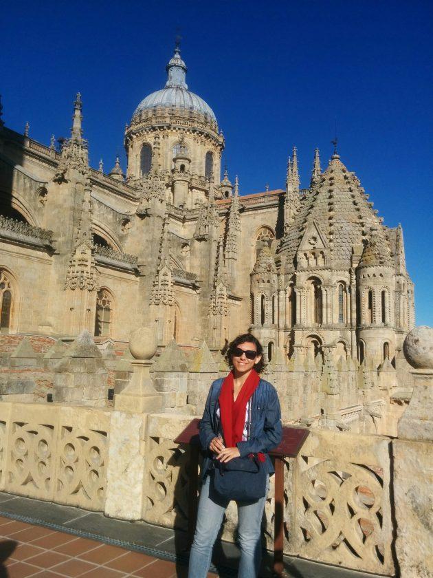 Vitória não cansa de visitar a Catedral de Salamanca, uma das atrações da cidade  (Foto: acervo pessoal)