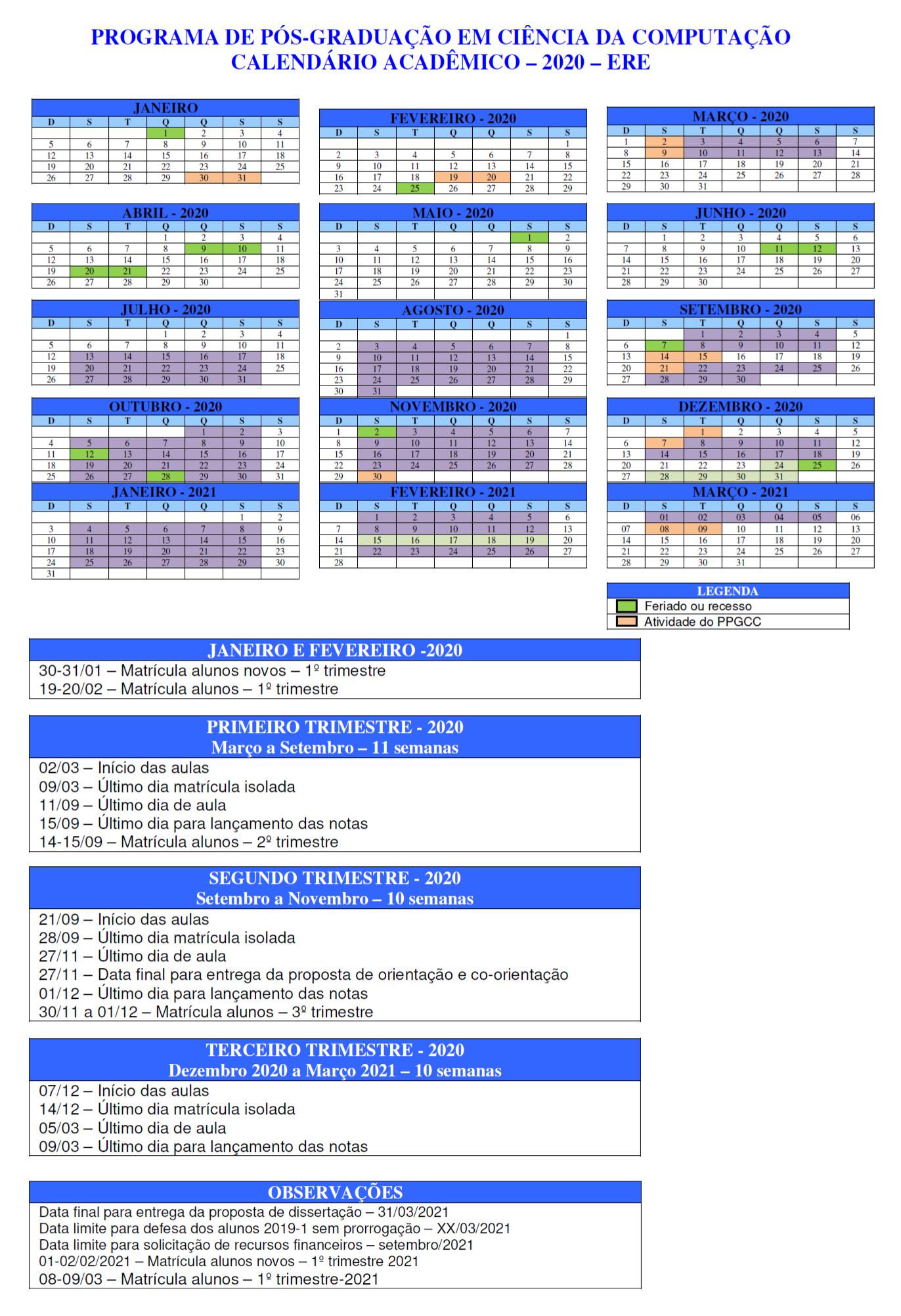 calendario 2020 - ERE