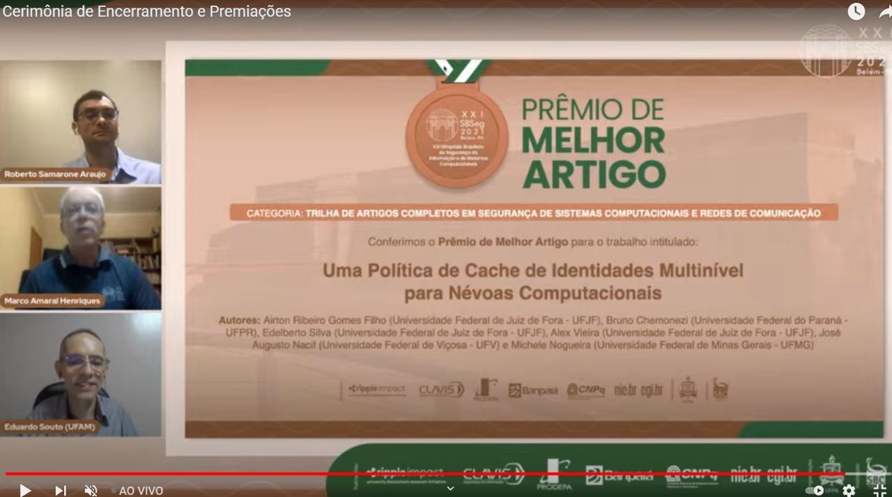 Aluno recebe Prêmio de Melhor Artigo no SBSeg 2021