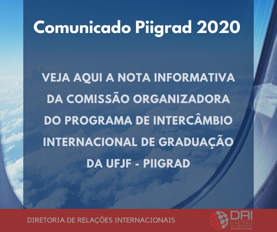 ATENÇÃO – UFJF publica comunicado sobre Piigrad 2020