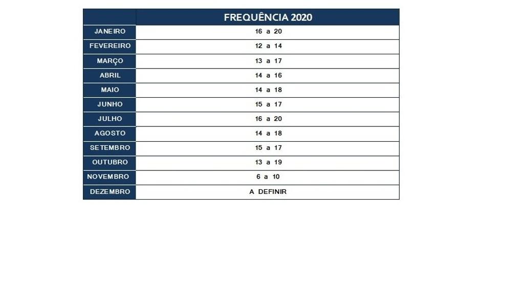 Calendário de Bolsas 2020