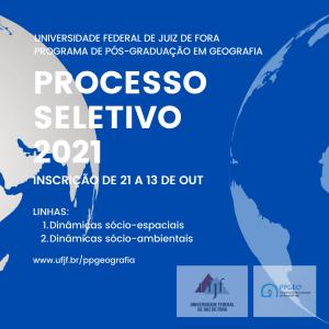 Novo Processo Seletivo 2021 – Mestrado em Geografia – PPGEO/UFJF