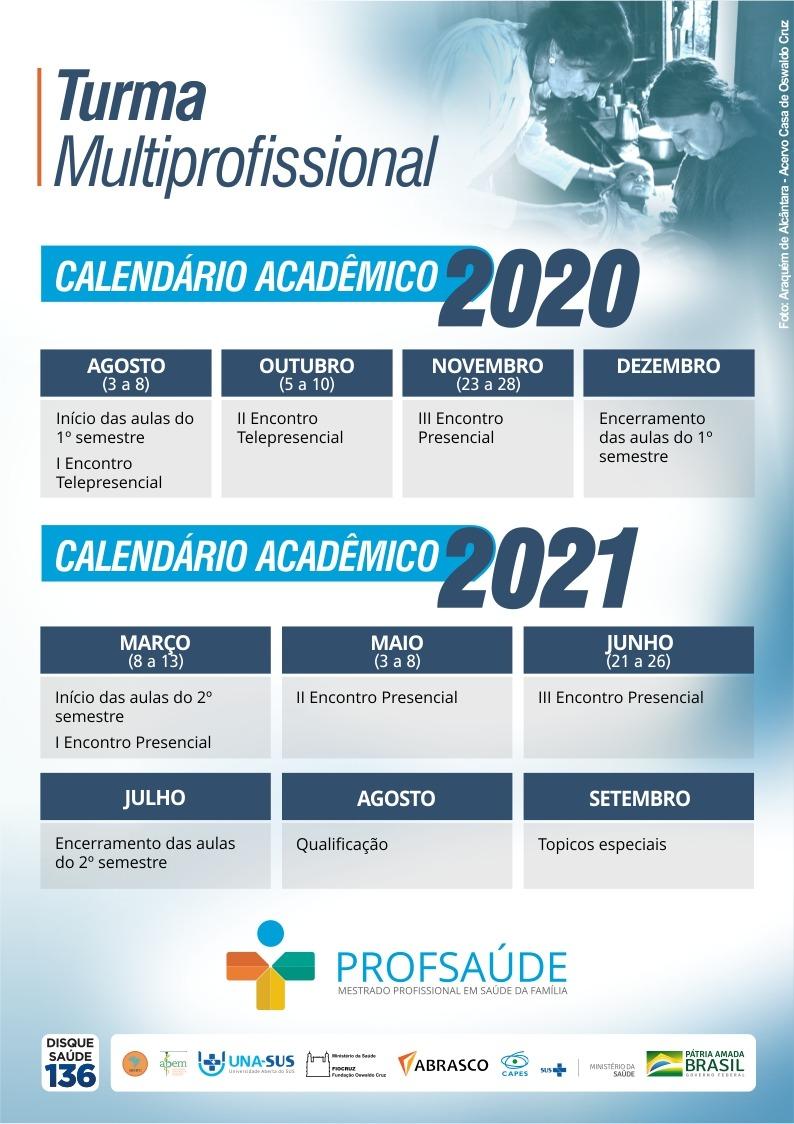 Mestrado Profissional em Saúde da Família – ProfSaúde / UFJF – Calendário acadêmico – 2020 / 2021