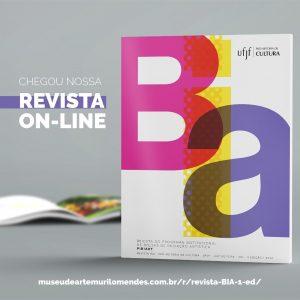 """Imagem contendo a capa da revista BIA, uma revista aberta ao fundo, texto dizendo """"Chegou nossa revista on-line"""" e, no rodapé, link para acesso à revista."""