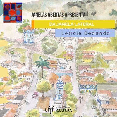 """Arte de divulgação do e-book """"Da janela lateral"""", de Letícia Bedendo, com um desenho do distrito de Piacatuba (MG)."""