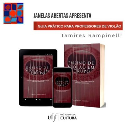 Arte de divulgação do ebook, com a capa aplicada em um livro e telas de celular e tablet.