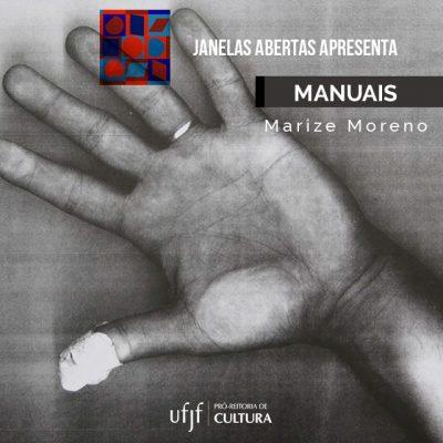 Arte de divulgação do projeto Manuais, de Marize Moreno, com imagem de um xerox de uma mão com um dedo com curativo.