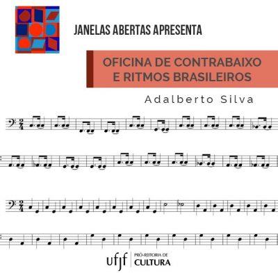 """Arte de divulgação do arquivo PDF """"Linhas de contrabaixo e ritmos brasileiros"""", de Adalberto Silva, contendo linhas de notas musicais."""