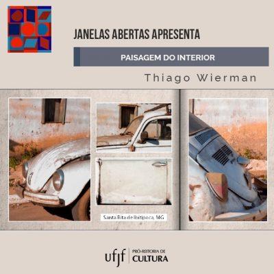 """Arte de divulgação do E-book """"Paisagem do interior"""", com recortes de fotografia de um fusca."""