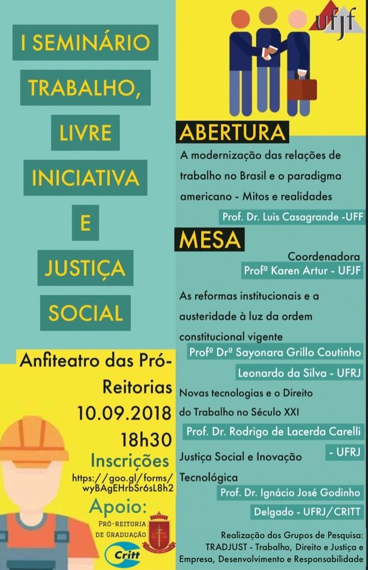 cartaz I Seminário Trabalho, Livre Iniciativa e Justiça Social