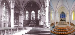 Igreja de Maria Geburt, em Aschaffenburg, Alemanha, em fotografias de 1900 e após a reforma de 1999.