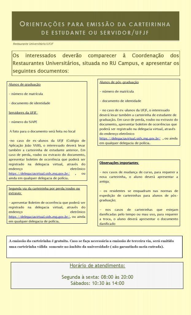 Orientações para Emissão Carteira de Estudante Campus Juiz de Fora (abre em nova janela)