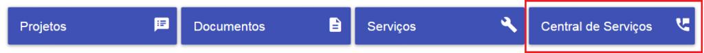 Imagem de exemplo da lista de destaques com os botões sem distorção pois o título tem um tamanho agradável em todos os botões, o destaque Central de Serviços está em evidência