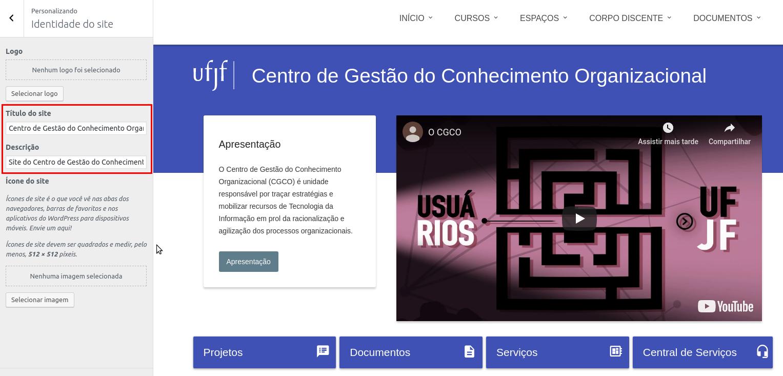 Imagem da tela de personalização do site, com destaque nas possíveis alterações na Identidade.